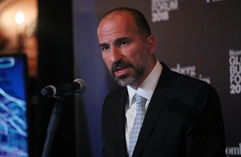 Dara Khosrowshahi, Chief Executive Officer of Uber, speaks at the Bloomberg Global Business forum in New York, U.S., Sept. 26, 2018. (Reuters Photo)