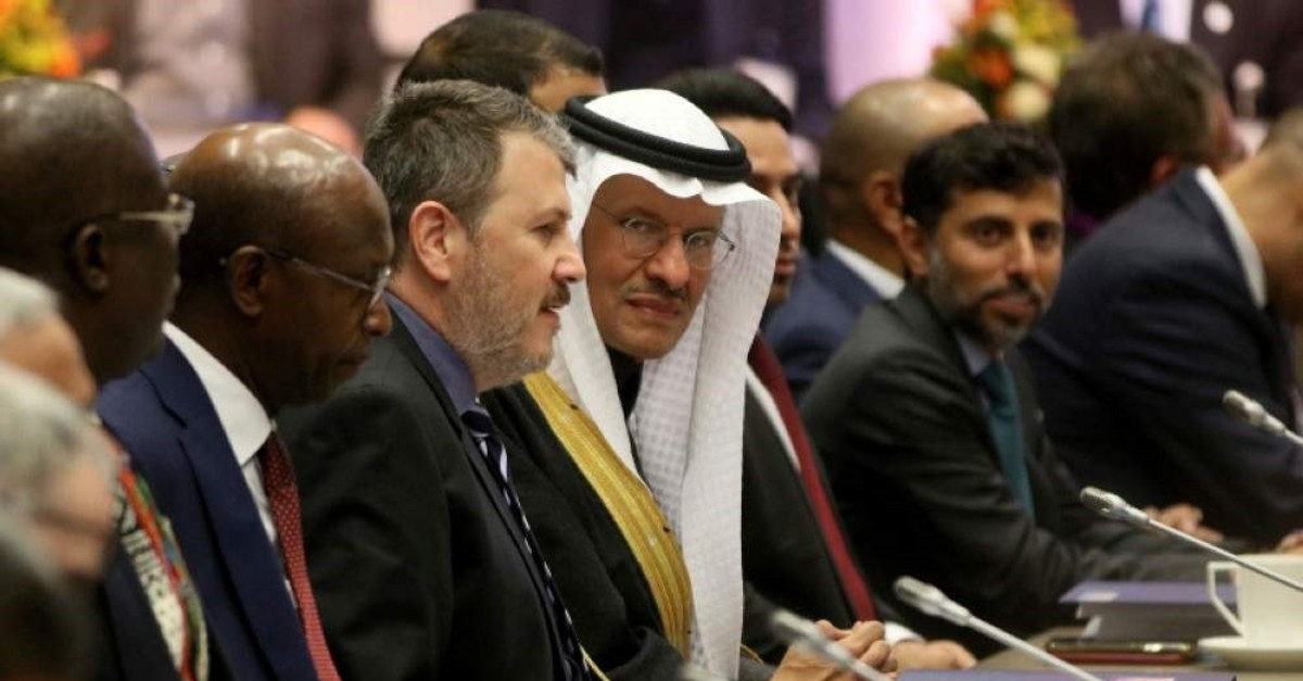 Saudi Prince Abdulaziz bin Salman Al Saud (C), the kingdom's minister of energy, at a meeting of the Organization of the Petroleum Exporting Countries (OPEC) in their headquarters in Vienna, Austria, Dec. 5, 2019. (AP Photo)