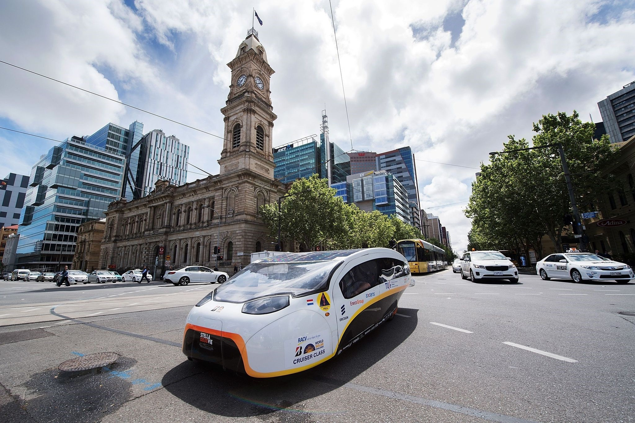 Solar Team Eindhoven vehicle u2018Stella Vieu2019 from the Netherlands passes the Adelaide Town Hall to the finish line in Adelaide.