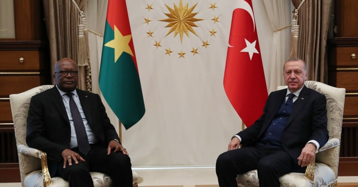 President Recep Tayyip Erdou011fan (right) and Burkino Faso's President Roch Marc Christian Kaboru00e9 held a meeting and discussed ways to develop bilateral ties at the Presidential Complex, Ankara, April 11, 2019.