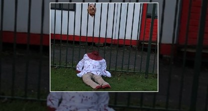 pA decapitated doll was left in front of a mosque with an Islamophobic banner in the Dutch capital Amsterdam by a group of far-right extremists, head of the mosque said on Thursday./p