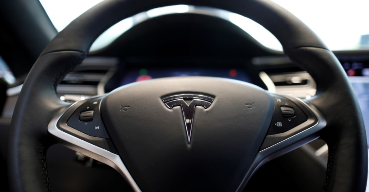 The logo of Tesla is seen on a steering wheel of its Model S electric car at its dealership in Seoul, South Korea July 6, 2017. (Reuters Photo)