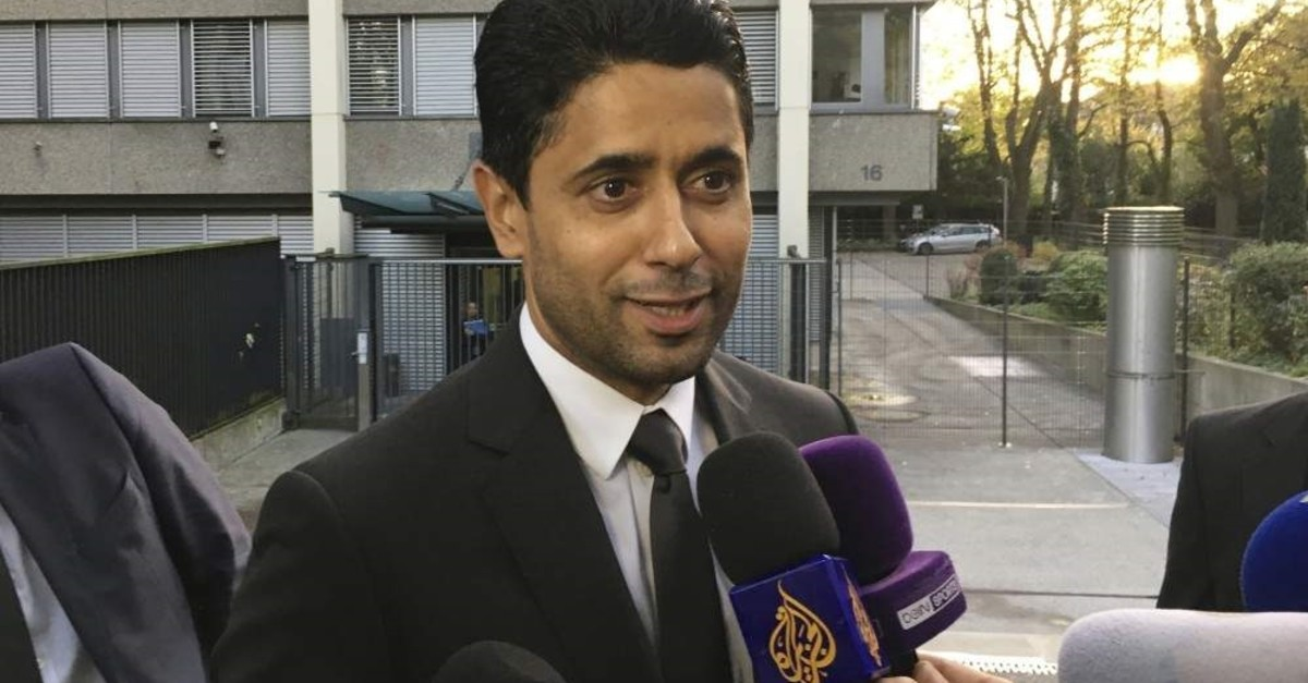 PSG president Nasser Al-Khelaifi speaks to the media after a meeting with Swiss prosecutors in Bern, Switzerland, Oct. 25, 2017. (AP Photo)
