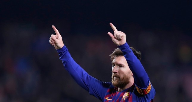 FC Barcelona's Lionel Messi celebrates after scoring during the Spanish La Liga soccer match between FC Barcelona and Leganes at the Camp Nou stadium in Barcelona, Spain, Sunday, Jan. 20, 2019. AP Photo