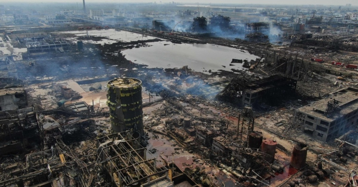 An aerial view shows a chemical plant after an explosion in Yancheng in China's eastern Jiangsu province, on March 23, 2019. (AFP Photo)
