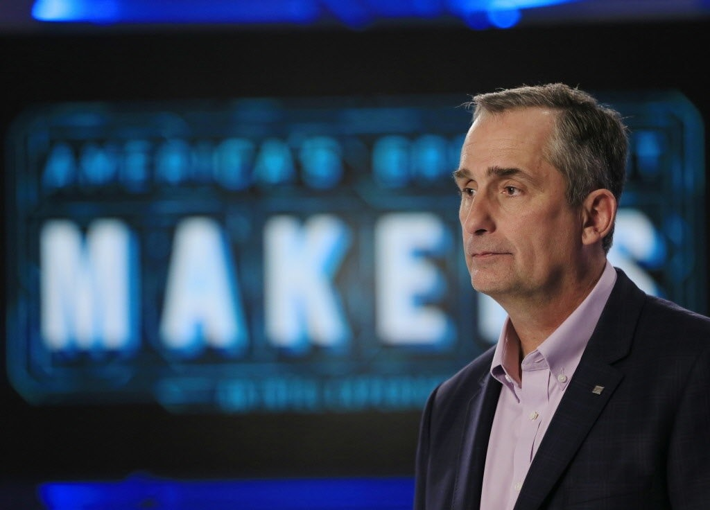 Intel CEO Brian Krzanich on the set of u201cAmericau2019s Greatest Makers,u201d an Intel-backed TV show, in March 2016. (AP Photo)