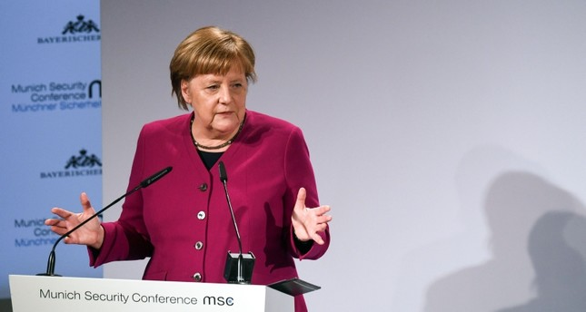 German Chancellor Angela Merkel delivers a speech during the 55th Munich Security Conference in Munich, southern Germany. (AFP Photo)