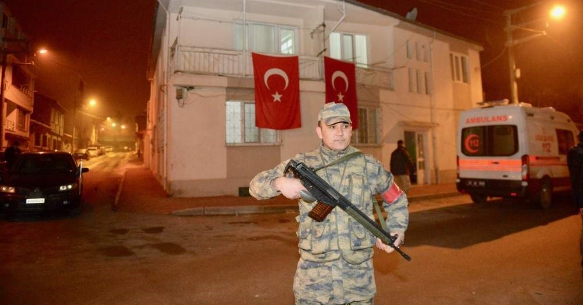 The family of one of the fallen soldiers hung Turkish flags on their home after receiving the news. (AA Photo)