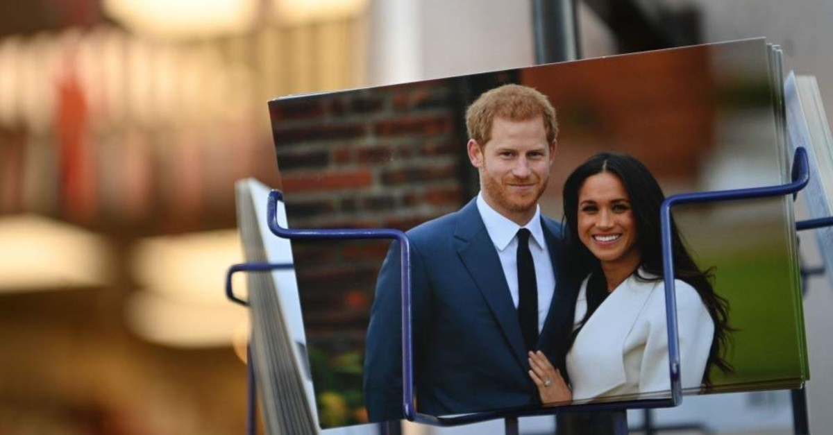 Royal memorabilia featuring Britain's Prince Harry and Meghan Markle is displayed for sale in a store near Buckingham Palace, London, Jan. 10, 2020. (AFP Photo)