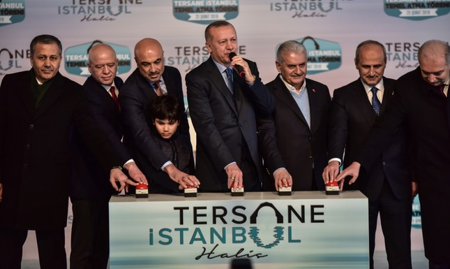 President Recep Tayyip Erdoğan and other officials attended the groundbreaking ceremony for the Tersane Istanbul project at Istanbul's historic Haliç Shipyard, Feb. 23, 2019.