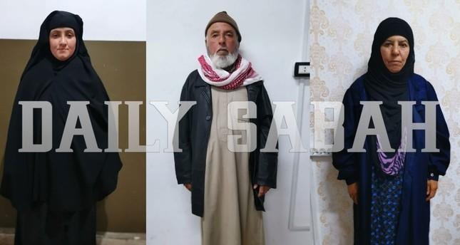 كنة أبو بكر البغدادي (على اليسار)، أخته (على اليمين) وزوجها (ديلي صباح)