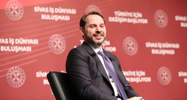 This file photo dated Jan. 10, 2020, shows Treasury and Finance Minister Berat Albayrak speaking at a business summit in the central province of Sivas, Turkey. AA Photo