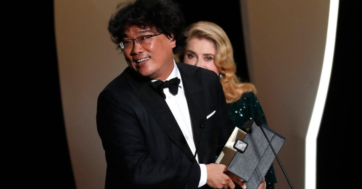 Director Bong Joon-ho, Palme d'Or award winner for his film ,Parasite, (Gisaengchung), reacts. (Reuters Photo)