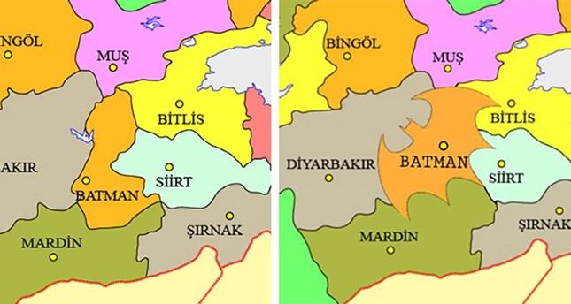 حملة لتغيير شكل حدود ولاية باتمان التركية لتصبح على شكل شعار الرجل الوطواط