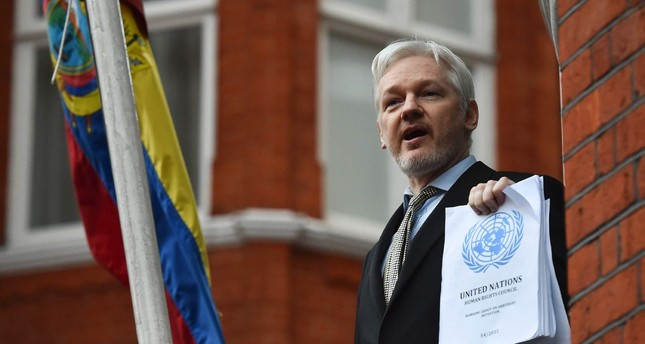 This file photo taken on February 5, 2016 shows WikiLeaks founder Julian Assange addressing the media on his case from the balcony of the Ecuadorian embassy in central London. (AFP Photo)