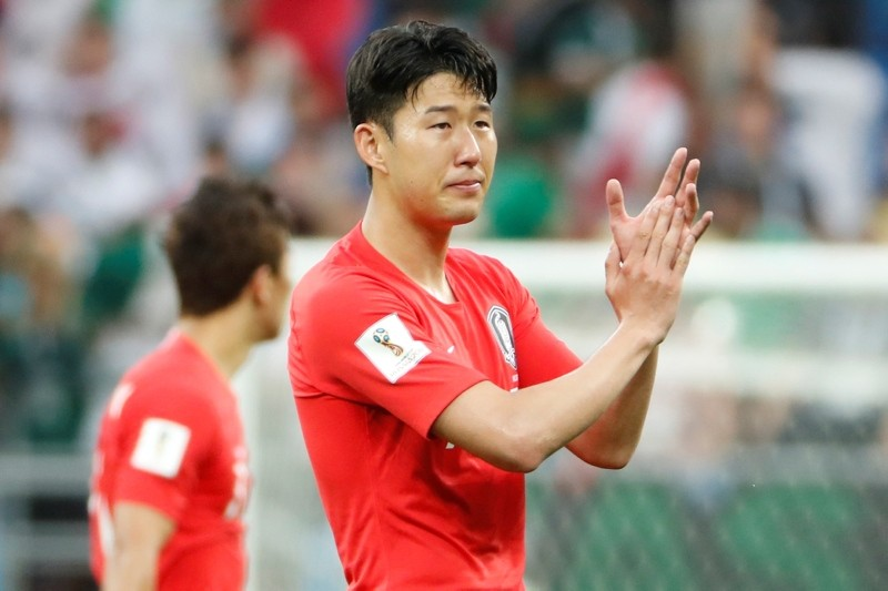 Son Heung-min of South Korea reacts after the FIFA World Cup 2018 group F group stage football match between South Korea and Mexico in Rostov-On-Don, Russia, June 23, 2018. (EPA Photo)