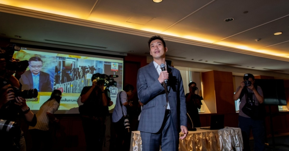 Future Forward Party leader Thanathorn Juangroongruangkit speaks to party leaders ahead of watching a live television broadcast of a court verdict  at their party's headquarters in Bangkok, Thailand, Friday, Feb. 21, 2020. (AP Photo)