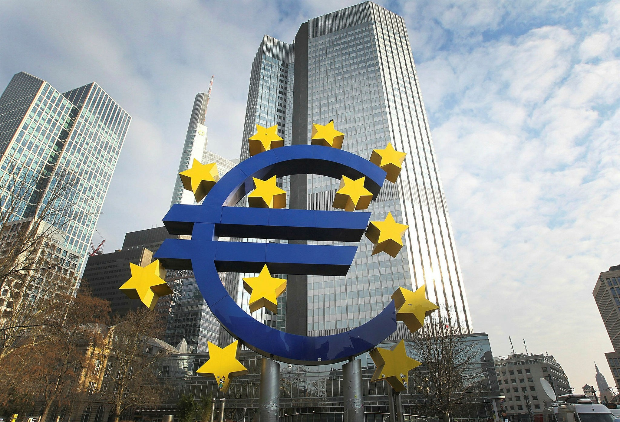 The Euro logo is pictured in front of the former HQ of the European Central Bank in Frankfurt, Feb. 7