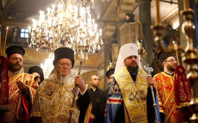Patriarch Bartholomew I L and Metropolitan Epiphanius, the head of the independent Ukrainian Orthodox Church, walk together during their meeting to sign the Tomos decree at the Patriarchal Church of St George in Istanbul, Jan. 5, 2019. AP Photo