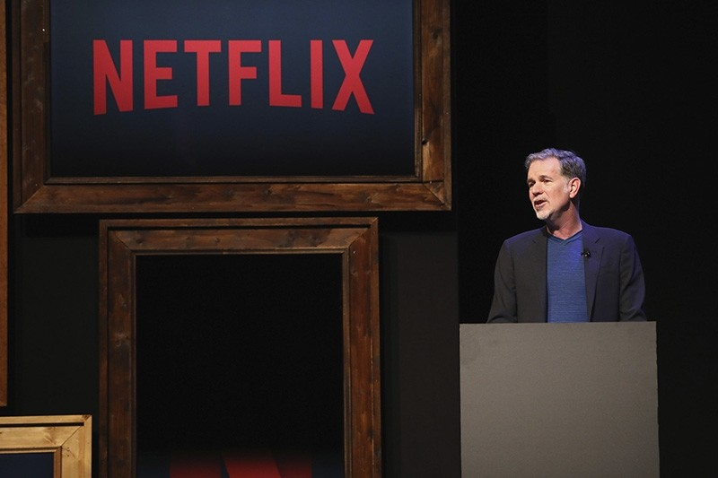 Netflix CEO Reed Hastings speaks on stage during the Netflix See What's Next Event at WECC on March 1, 2017 in Berlin, Germany. (Photo by Brian Dowling/Getty Images for Netflix)