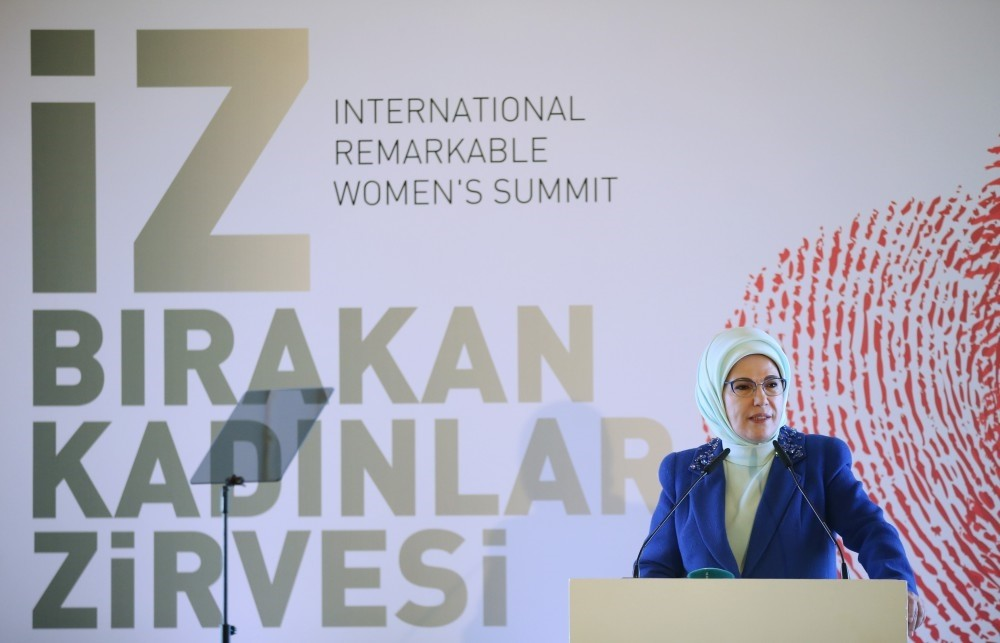 Emine Erdou011fan addressed the International Remarkable Women's Summit hosted by a local municipality in Istanbul.