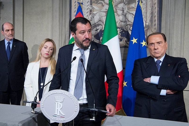 League's Matteo Salvini (C) speaks next to Fratelli d'Italia's Giorgia Meloni (L) and Forza Italia's Silvio Berlusconi following a talk with President Sergio Mattarella at the Quirinale Palace in Rome, Italy, May 7, 2018. (Reuters Photo)