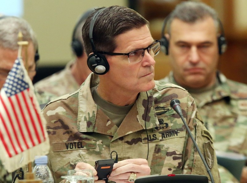 In this file photo taken on September 12, 2018 Commander of United States Central Command Joseph Leonard Votel, listens during a meeting with the Gulf cooperation council's armed forces chiefs of staff in Kuwait City. (AFP Photo)