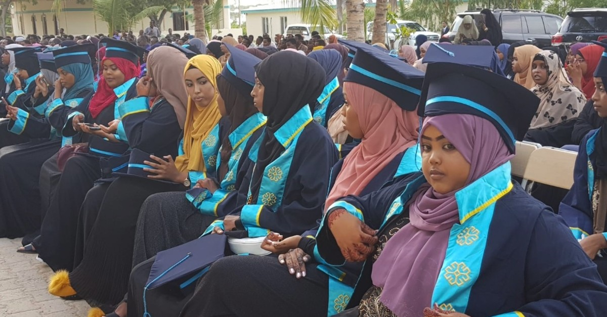Students attend their graduation ceremony from a Maarif Foundation school on May 22, 2019.