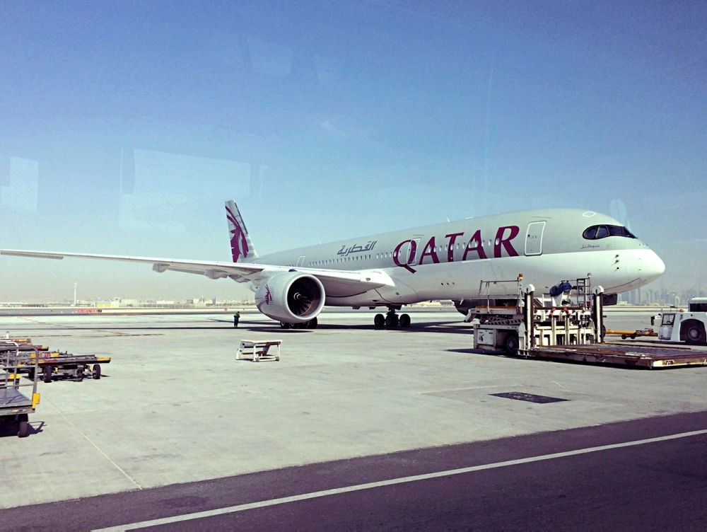 Photo shows a parked Qatari plane in Hamad International Airport in Doha, Qatar. (AP PHOTO)
