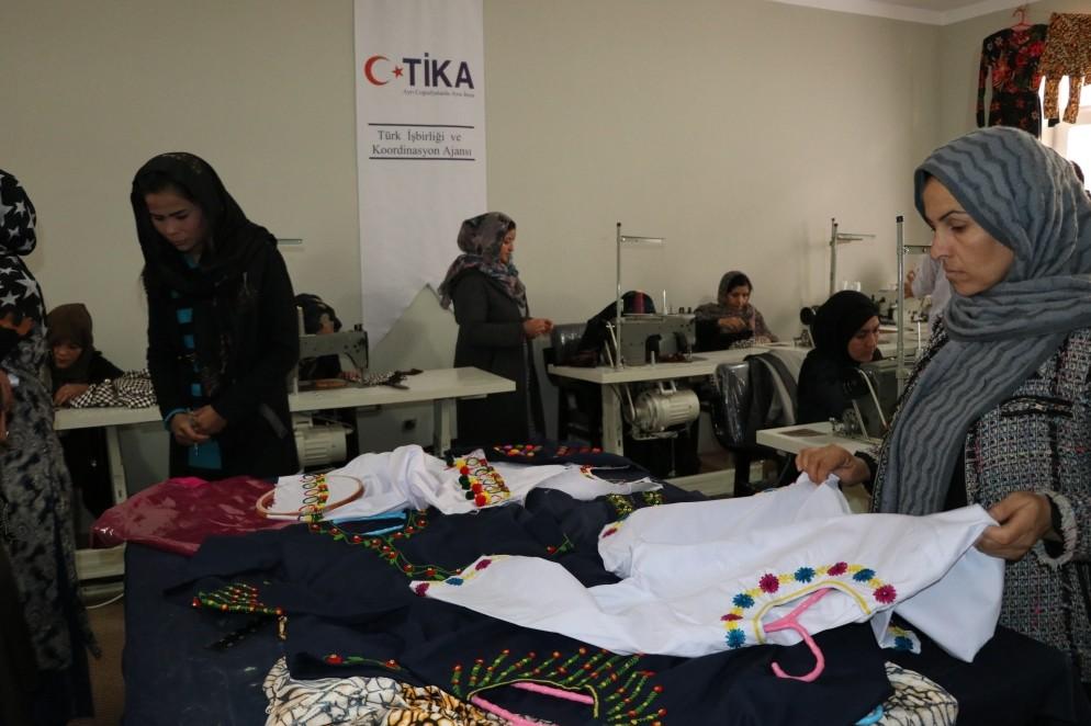 Women work at a textile workshop furnished by Tu0130KA in Baghlan, Afghanistan.