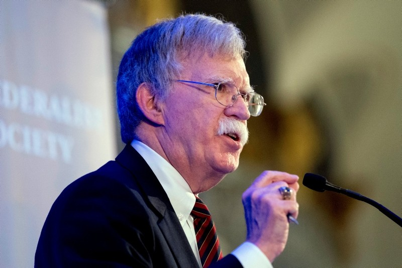 National Security Adviser John Bolton speaks at a Federalist Society luncheon at the Mayflower Hotel, Monday, Sept. 10, 2018, in Washington. (AP Photo)
