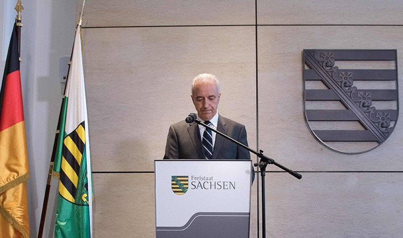 State Premier for the federal state of Saxony Stanislaw Tillich delivers a statement to resign at the State chancellery in Dresden, eastern Germany, on October 18, 2017 (AFP Photo)
