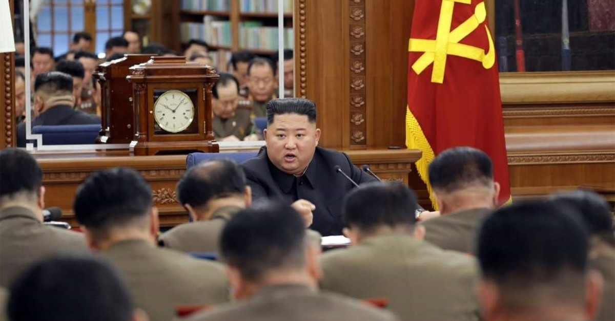 North Korean leader Kim Jong Un attends the Third Enlarged Meeting of the Seventh Central Military Commission of the Workers' Party of Korea (WPK) in an undisclosed location, Dec. 22, 2019. (AFP Photo)