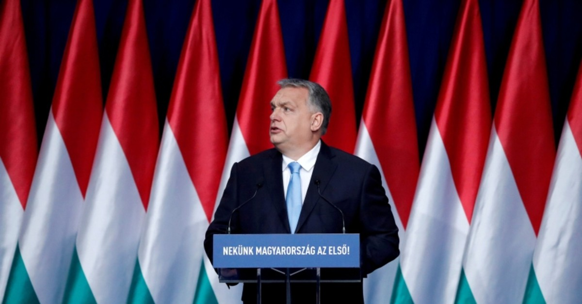 Hungarian Prime Minister Viktor Orban delivers his annual state of the nation speech in Budapest, Hungary, February 10, 2019. Banner reads ,Hungary first!, (Reuters Photo)