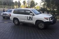 سيارات تقل فريق تقصي الحقائق من منظمة حظر السلاح الكيماوي في دمشق