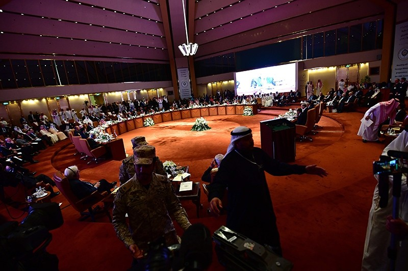 A picture taken April 12, 2018, shows a general view of the hall housing the preparatory meeting of Arab Foreign Ministers ahead of the 28th Summit of the Arab League in Riyadh, Saudi Arabia. (AFP Photo)