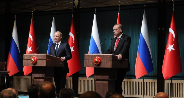 President Erdoğan and his Russian counterpart Putin speak at a press conference after their meeting in Presidential Palace, Ankara, Dec. 1, 2014.