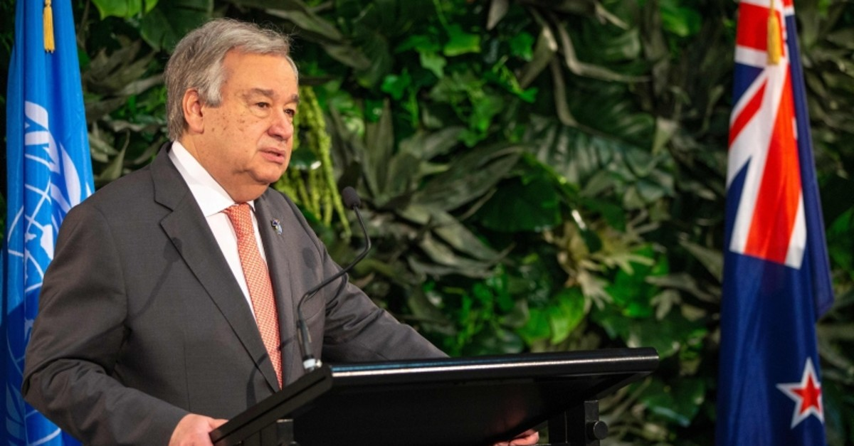 United Nations Secretary-General Antonio Guterres takes part in a joint press conference with New Zealand's prime minister during his visit to Government House in Auckland, May 12, 2019. (AFP Photo)