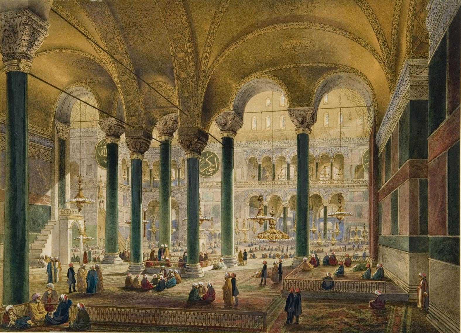 A painting shows the 19th century Hagia  Sofia which was used as a mosque at the time.