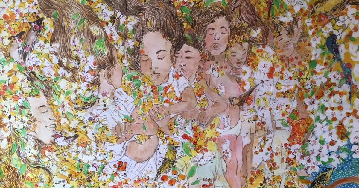u201cMasumiyetu201d by Pu0131nar Tu0131nu00e7, 2019, India ink on paper, 160x140 cm.