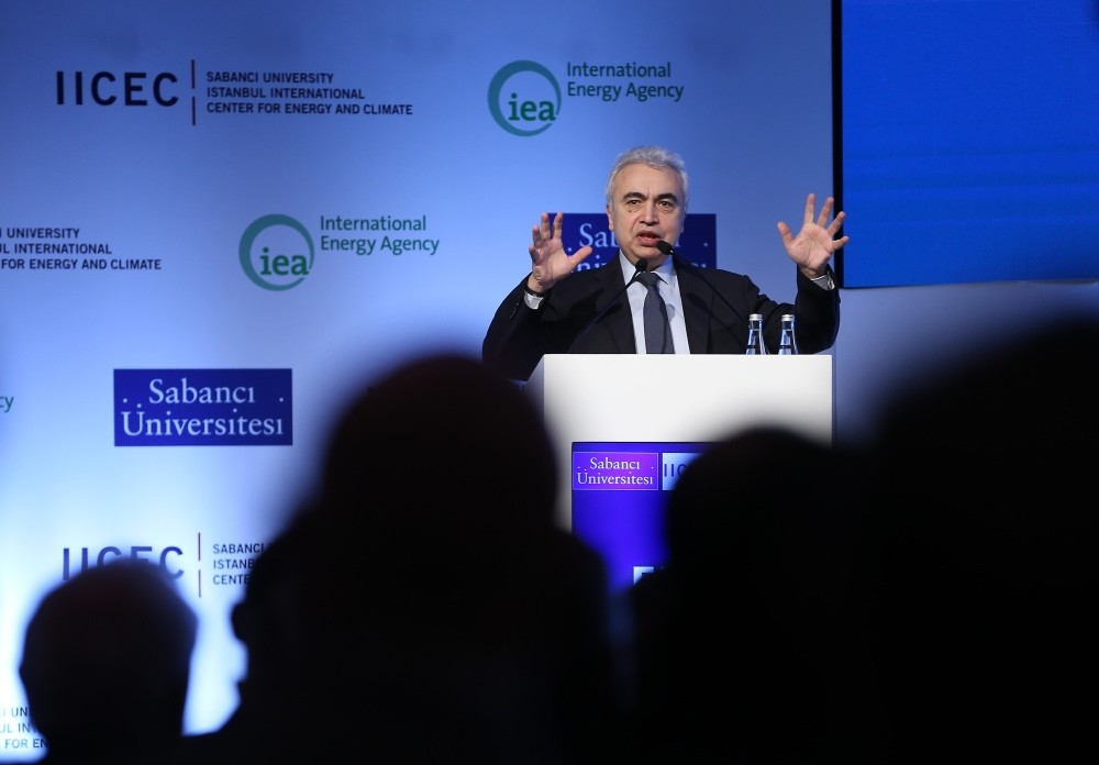 International Energy Agency (IEA) Executive Chairman Fatih Birol speaks during the Turkey launch of the World Energy Outlook in Istanbul yesterday.