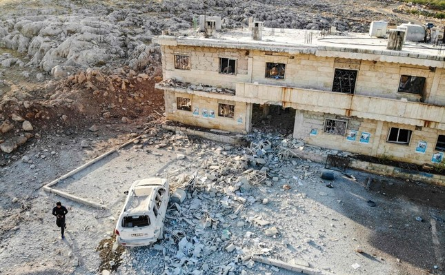 This picture taken early on November 6, 2019 shows an aerial view of a hospital that was reportedly hit by an air strike in the Syrian village of Shinan, about 30 kilometres south of Idlib in the northwestern Idlib province. (AFP Photo)