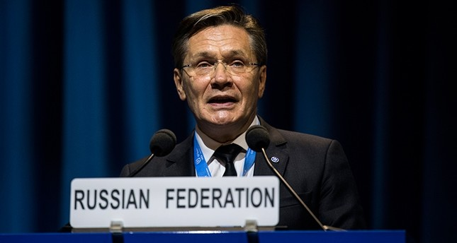 Russia's First Deputy Minister of Economic Development and Director General of Russian State Atomic Energy Corporation Rosatom, Alexei Likhachev, speaks during the IAEA's 61st General Conference in Vienna, Austria, Sept. 18, 2017. (EPA Photo)