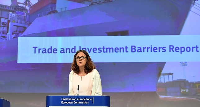 EU Trade Commissioner Cecilia Malmstroem addresses a press conference on the Trade and Investment Barriers Report for 2016 at the European Commission in Brussels, June 26, 2017. AFP Photo