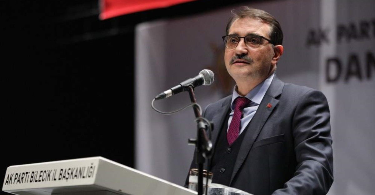 Turkey's Energy and Natural Resources Minister delivers a speech in ruling Justice and Development Party (AK Party) meeting in western Turkey's Bilecik province. (AA Photo)
