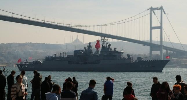 قطع بحرية تركية مشاركة في مناورات الوطن الأزرق الأناضول