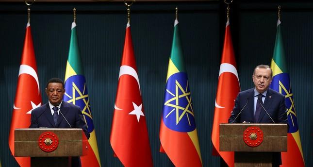President Recep Tayyip Erdoğan (R) and Ethiopian President Mulatu Teshome Wirtu (L) speak during a press conference in Ankara, Turkey on February 7, 2017. (AA Photo)