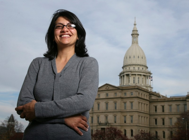 In this Thursday, Nov. 6, 2008, file photo, Rashida Tlaib, a Democrat, is photographed outside the Michigan Capitol in Lansing, Mich. (AP Photo)
