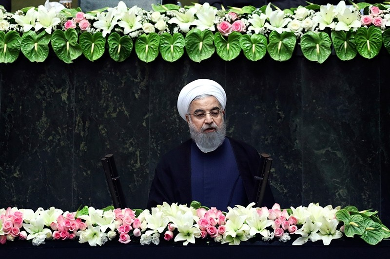 Iran's President Hasan Rouhani delivers a speech after his swearing-in ceremony for the second term in office, at the parliament in Tehran, Iran, Saturday, Aug. 5, 2017. (AP Photo)