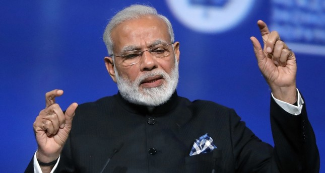 Indian PM Narendra Modi speaks in St. Petersburg. The Trump administration is set to authorize the sale of surveillance drones to India as the two nations' leaders prepare for their first face-to-face meeting on June 26.